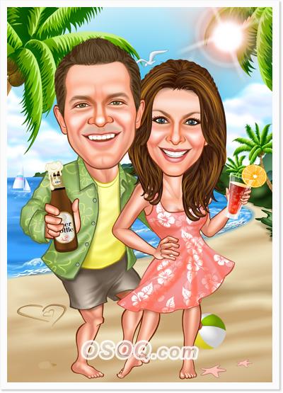 Vacation Honeymoon Couple Caricatures Osoq Com